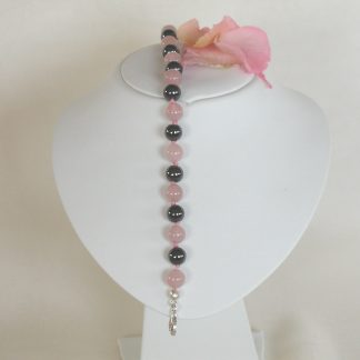 Bracelet with rose quartz smooth