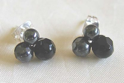 Stud earrings-3 with onyx faceted
